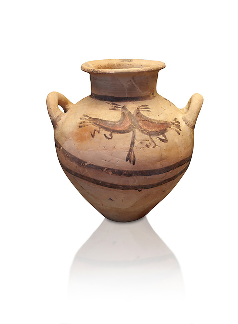 Mycenaean pot with cycladic style design , Grave Circle B, Mycenae 17-16thj Cent BC. National Archaeological Museum Athens.  White Background.<br /> <br /> Bichromatic Cycladic style Mycenaean pot depicting birds. Cat No 8615