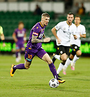 23rd May 2021; HBF Park, Perth, Western Australia, Australia; A League Football, Perth Glory versus Macarthur; Andy Keogh of Perth Glory breaks past the MacArthur defense to score, but ruled offside in 3rd minute