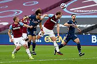 21st March 2021; London Stadium, London, England; English Premier League Football, West Ham United versus Arsenal; David Luiz of Arsenal has a header on goal
