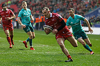 Ioan Nicholas of the Scarlets scores a try during the Guinness Pro14 Round 17 match between the Scarlets and Munster Rugby at the Parc Y Scarlets Stadium, Llanelli, Wales, UK. Saturday 02 March 2019