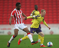 Huddersfield Town's Lewis O'Brien in action with  Stoke City's Mikel John Obi<br /> <br /> Photographer Mick Walker/CameraSport<br /> <br /> The EFL Sky Bet Championship - Stoke City v HUddersfield Town - Saturday 21st November 2020 - bet365 Stadium - Stoke<br /> <br /> World Copyright © 2020 CameraSport. All rights reserved. 43 Linden Ave. Countesthorpe. Leicester. England. LE8 5PG - Tel: +44 (0) 116 277 4147 - admin@camerasport.com - www.camerasport.com