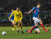 Fleetwood Town's Ched Evans (centre) holds off the challenge from Portsmouth<br /> <br /> Photographer David Horton/CameraSport<br /> <br /> The EFL Sky Bet League One - Portsmouth v Fleetwood Town - Tuesday 10th March 2020 - Fratton Park - Portsmouth<br /> <br /> World Copyright © 2020 CameraSport. All rights reserved. 43 Linden Ave. Countesthorpe. Leicester. England. LE8 5PG - Tel: +44 (0) 116 277 4147 - admin@camerasport.com - www.camerasport.com