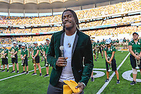 Baylor alumni and NFL quarterback Robert Griffin III gives invocation before inaugural NCAA Football game kickoff at newly constructed McLean Stadium, Sunday, August 31, 2014 in Waco, Tex. Baylor leads SMU 31-0 in the first half. (Mo Khursheed/TFV Media via AP Images)