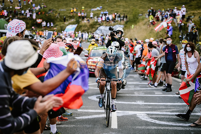 Nans Peters (FRA) AG2R La Mondiale climbs the Col de Peyresourde during Stage 8 of Tour de France 2020, running 141km from Cazeres-sur-Garonne to Loudenvielle, France. 5th September 2020. <br /> Picture: ASO/Pauline Ballet | Cyclefile<br /> All photos usage must carry mandatory copyright credit (© Cyclefile | ASO/Pauline Ballet)