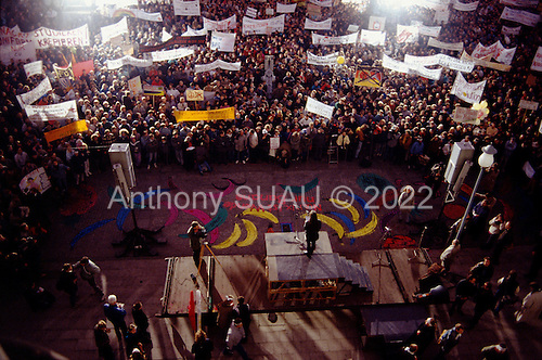 East Berlin, East Germany <br /> November 17, 1989 <br /> <br /> East Germans at an anti-government demonstration. East Germans travel to the West after the East German government lifted travel and emigration restrictions regulations on November 9, 1989.