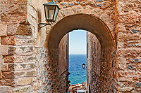 A small cafe in the Byzantine castle-town of Monemvasia in Greece