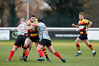 Tom Hodgson of Richmond Rugby is tackled Tom Hodgson of Richmond Rugby is tackled during the English National League match between Richmond and Blackheath  at Richmond Athletic Ground, Richmond, United Kingdom on 4 January 2020. Photo by Carlton Myrie.