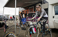 Gaby Durrin-Day (GBR) & Helen Wyman (GBR) warming up (to a tune)<br /> <br /> UCI Worldcup Heusden-Zolder Limburg 2013
