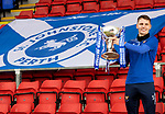 St Johnstone Training... 02.03.21<br />Captain Jason Kerr pictured with the BETFRED Cup at McDiarmid Park ahead of tomorrows game against Hamilton.<br />Picture by Graeme Hart.<br />Copyright Perthshire Picture Agency<br />Tel: 01738 623350  Mobile: 07990 594431