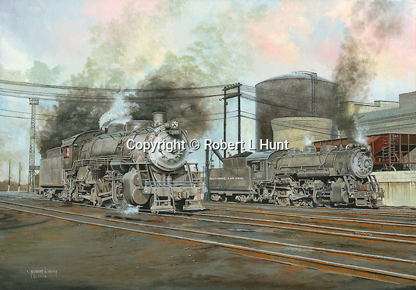 """Two Baltimore and Ohio steam engines readying for the day's work hauling freight from the railroad yard at Willard, Ohio. Oil on canvas, 20"""" x 28""""."""