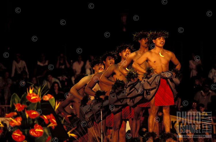 Men performing kahiko hula at the Merrie Monarch Festival, Hilo, Big Island