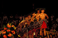 Men performing kahiko hula at the Merrie Monarch Festival, Hilo, Big Island