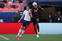 6th June 2021. Denver, Colorado, USA;  United States forward Gio Reyna loses the header to Mexico midfielder Jesus Gallardo during the CONCACAF Nations League finals between Mexico and the United States  at Empower Field at Mile High in Denver, CO.