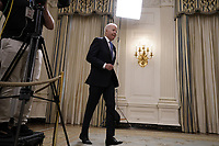 United States President Joe Biden arrives to deliver remarks on the economic recovery in the State Dining Room at the White House in Washington, DC on July 19, 2021. <br /> CAP/MPI/RS<br /> ©RS/MPI/Capital Pictures