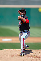 Lake Elsinore Storm starting pitcher Ronald Bolanos (16) delivers a pitch to the plate against the Rancho Cucamonga Quakes at LoanMart Field on May 28, 2018 in Rancho Cucamonga, California. The Storm defeated the Quakes 8-5.  (Donn Parris/Four Seam Images)