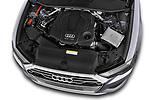 High angle detail view of 2019 Audi A6 Design 4 Door Sedan engine