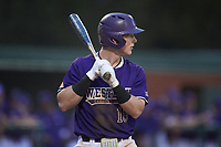 Justice Bigbie (18) of the Western Carolina Catamounts at bat against the St. John's Red Storm at Childress Field on March 12, 2021 in Cullowhee, North Carolina. (Brian Westerholt/Four Seam Images)