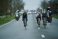 After having caught Jurgen Roelandts (BEL/Lotto-Soudal) with about 15km to go, the remaining group gets smaller<br /> <br /> 77th Gent-Wevelgem 2015