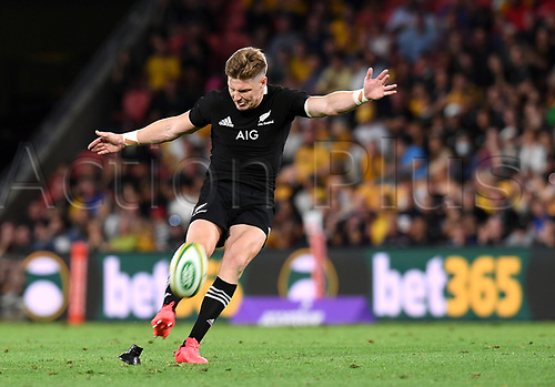 7th November 2020, Brisbane, Australia; Tri Nations International rugby union, Australia versus New Zealand;  Jordie Barrett of the All Blacks kicks a penalty