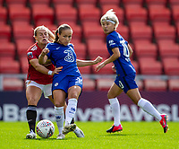 6th September 2020; Leigh Sports Village, Lancashire, England; Women's English Super League, Manchester United Women versus Chelsea Women; Guro Reiten of Chelsea Women is tackled