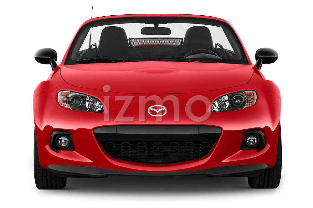 Car photography straight front view of a 2015 Mazda MX-5 Miata Club Auto 2 Door Convertible Front View