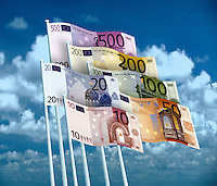 Euro banknotes as flags flying against a cloudy and blue sky