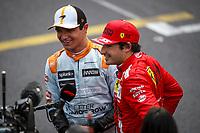23rd May 2021; Principality of Monaco; F1 Grand Prix of Monaco,   Race Day;  NORRIS Lando gbr, McLaren MCL35M, portrait, celebrating his podium with SAINZ Carlos spa, Scuderia Ferrari SF21