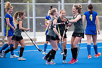 St Cuthberts celebrate a goal - Girls A Final between St Cuthberts College and Whangarei Girls High School during Upper North Island Secondary School Hockey Championship, North Harbour Hockey, North Shore, Auckland . Friday 9 October 2020 Photo: Brett Phibbs / www.bwmedia.co.nz / Hockey New Zealand