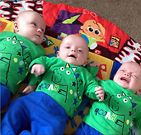Pictured: The triplets, two of whom have died in the Wildmill area of Bridgend, Wales, UK. IMAGE TAKEN FROM OPEN FACEBOOK ACCOUNT.<br /> Re: Two five-month old baby boys have died after they were found not breathing at a house in Bridgend.<br /> Emergency services were called to an address in the Wildmill area of the town.<br /> The brothers, who were two of a set of triplets, were taken to the Princess of Wales Hospital where they were later pronounced dead.<br /> The surviving brother is called Ethan, and the mother is called Sarah Owen.<br /> South Wales Police said the deaths were not being treated as suspicious, but as a tragic accident.<br /> Enquiries are continuing into the cause of the deaths.