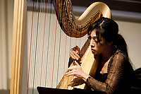 Harpist Esther Yoon Chung performs during the Composition Forum at the 11th USA International Harp Competition at Indiana University in Bloomington, Indiana on Monday, July 8, 2019. (Photo by James Brosher)