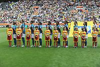 Fifa Women's World Cup Germany 2011 : Brazil - Australia  at Borussia - Park in Munchengladbach : brazilian girls at the brazilian hymn.foto DAVID CATRY / Vrouwenteam.be
