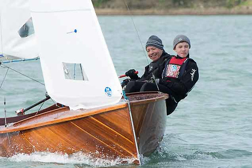 Nigel Young of North Sails and his son James (11) racing the O'Brien Kennedy-designed YW Dayboat PaPa2 at Crosshaven. Photo: Robert Bateman