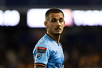 HARRISON, NJ - MARCH 11: Alexandru Mitrita #28 of NYCFC during a game between Tigres UANL and NYCFC at Red Bull Arena on March 11, 2020 in Harrison, New Jersey.