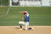 High Point-Thomasville HiToms third baseman Hogan Windish (21) (UNCG) attempts to field a ground ball during the game against the Deep River Muddogs at Finch Field on June 27, 2020 in Thomasville, NC.  The HiToms defeated the Muddogs 11-2. (Brian Westerholt/Four Seam Images)
