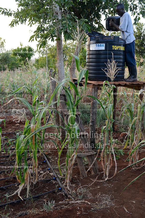 KENYA, ADS Anglican Development Services of Mount Kenya East, Region South Ngariama , project water ponds and drip irrigation during drought periods / KENIA, Projekt Wasserspeicherbecken zur Nutzung in Duerreperioden, Farmer Timothy Muriuki Karaye betreibt mit dem Wasser eine Troepfchenbewaesserung