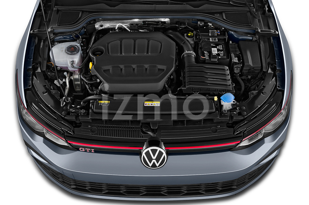 Car Stock 2021 Volkswagen Golf GTI 5 Door Hatchback Engine  high angle detail view