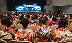 February16, 2013, Tokyo, Japan - Contestants all dress in kimonos are seated prior to the start of the 2013 Kimono Queen Contest. Approximately 500 women dressed in beautifully designed kimonos participate in this annual event for a chance to win special prizes and given the opportunity to be recognized as a kimono model in various media outlets. (Photo by Christopher Jue/Nippon News)