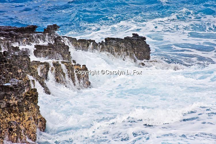Waves hit the rocks in Hawaii.