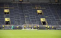 16th May 2020, Signal Iduna Park, Dortmund, Germany; Bundesliga football, Borussia Dortmund versus FC Schalke; The Dortmund team celebrate as if the fans were in the stands for them