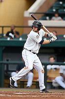 Lakeland Flying Tigers first baseman Bobby Borchering (4) at bat during a game against the Palm Beach Cardinals on April 13, 2015 at Joker Marchant Stadium in Lakeland, Florida.  Palm Beach defeated Lakeland 4-0.  (Mike Janes/Four Seam Images)
