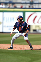 Cal State Fullerton Titans outfielder Josh Vargas (40) leads off second during a game against the Louisville Cardinals on February 15, 2015 at Bright House Field in Clearwater, Florida.  Cal State Fullerton defeated Louisville 8-6.  (Mike Janes/Four Seam Images)