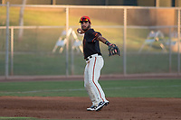 AZL Giants Black third baseman David Villar (9) makes a throw to first base during an Arizona League game against the AZL Athletics at the San Francisco Giants Training Complex on June 19, 2018 in Scottsdale, Arizona. AZL Athletics defeated AZL Giants Black 8-3. (Zachary Lucy/Four Seam Images)