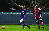 Tessa Wullaert (27) of Anderlecht pictured fighting for the ball with Madison Hudson (8) of Sporting Charleroi during a female soccer game between RSC Anderlecht Dames and Sporting Charleroi on the 13 th matchday of the 2020 - 2021 season of Belgian Womens Super League , friday 5 th of February 2021  in Tubize , Belgium . PHOTO SPORTPIX.BE | SPP | DAVID CATRY