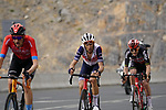 Wout Poels (NED) Bahrain Victorious, Vincenzo Nibali (ITA) Trek-Segafredo and Harm Vanhoucke (BEL) Lotto-Soudal climb the final 4km of Jais Mountain during Stage 5 of the 2021 UAE Tour running 170km from Fujairah to Jebel Jais, Ras Al Khaimah, UAE. 25th February 2021.  <br /> Picture: Eoin Clarke   Cyclefile<br /> <br /> All photos usage must carry mandatory copyright credit (© Cyclefile   Eoin Clarke)