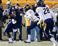 November 28, 2008. Pitt wide receiver Derek Kinder makes a 30-yard touchdown reception against WVU.  The Pitt Panthers defeated the West Virginia Mountaineers 19-15 on November 28, 2008 at Heinz Field, Pittsburgh, Pennsylvania.