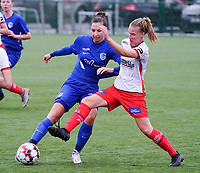 Genk's Shana Rais (37) (L)and Essevee's Laura Vervaecke (20) (R) battle for the ball  during a female soccer game between the women teams of Zulte Waregem A Dames and KRC Genk Ladies B on the 1/16 th qualifying round for the Belgian Womens Cup 2020  2021 , on saturday 26 th of September 2020  in Zulte , Belgium . PHOTO SPORTPIX.BE | SPP | SEVIL OKTEM