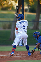 AZL Dodgers Mota Ismael Alcantara (5) at bat during an Arizona League game against the AZL Rangers at Camelback Ranch on June 18, 2019 in Glendale, Arizona. AZL Dodgers Mota defeated AZL Rangers 13-4. (Zachary Lucy/Four Seam Images)