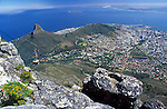 South Africa, Cape Town, view from Table Mountain at Lion's Head, Sea Point and Robben Island