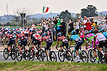 The peloton in action during Stage 2 of the 2021 Giro d'Italia, running 179km from Stupinigi (Nichelino) to Novara, Italy. 9th May 2021.  <br /> Picture: LaPresse/Fabio Ferrari | Cyclefile<br /> <br /> All photos usage must carry mandatory copyright credit (© Cyclefile | LaPresse/Fabio Ferrari)