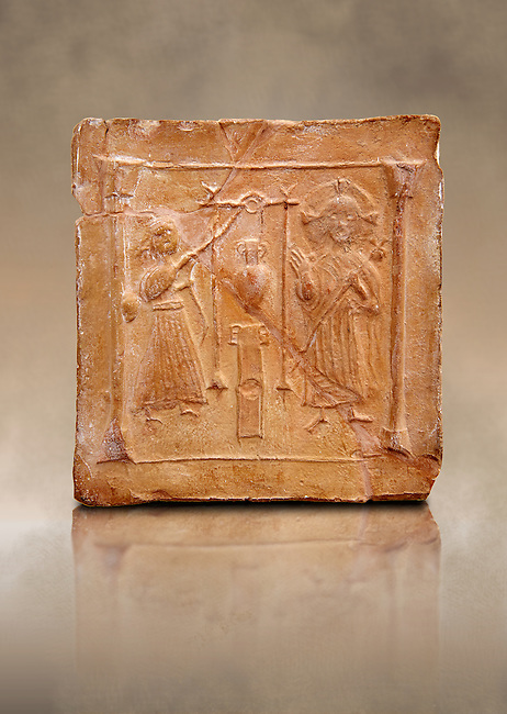 6th-7th Century Eastern Roman Byzantine  Christian Terracotta tiles depicting Christ changing Water into wine - Produced in Byzacena -  present day Tunisia. <br /> <br /> These early Christian terracotta tiles were mass produced thanks to moulds. Their quadrangular, square or rectangular shape as well as the standardised sizes in use in the different regions were determined by their architectonic function and were designed to facilitate their assembly according to various combinations to decorate large flat surfaces of walls or ceilings. <br /> <br /> Byzacena stood out for its use of biblical and hagiographic themes and a richer variety of animals, birds and roses. Some deer and lions were obviously inspired from Zeugitana prototypes attesting to the pre-existence of this province's production with respect to that of Byzacena. The rules governing this art are similar to those that applied to late Roman and Christian art with, in the case of Byzacena, an obvious popular connotation. Its distinguishing features are flatness, a predilection for symmetrical compositions, frontal and lateral representations, the absence of tridimensional atti-tudes and the naivety of some details (large eyes, pointed chins). Mass production enabled this type of decoration to be widely used at little cost and it played a role as ideograms and for teaching catechism through pictures. Painting, now often faded, enhanced motifs in relief or enriched them with additional details to break their repetitive monotony.<br /> <br /> The Bardo National Museum Tunis, Tunisia